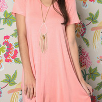 V Neck Swing Dress - Light Pink
