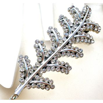 Silver Leaf Hair Clip Pin with Clear Rhinestones