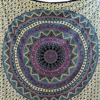 Large Cotton Fabric Mandala Wall Tapestry Hippie Wall Hanging Elephant Throw Bedspread Bedding Ethnic Wall Decor