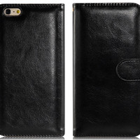 """Wallet Design Faux Leather Flip Case with Mount Stand & Credit Card Slots for 5.5"""" iPhone 6 Plus (Black)"""