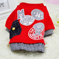 2016 New Cotton Dog Coat Sweater Cat Pet Clothes Fashion Baseball Costume Sweatshirt Uniform Clothing for Puppy Dogs Apparel 14
