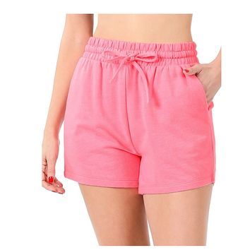 Cozy French Terry Bright Pink Shorts with Pockets