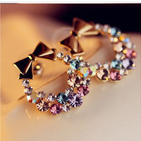 Multicolor Diamond Bowknot Earrings