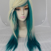 20% OFF SALE Blonde and Teal Green / Long Straight Layered Wig