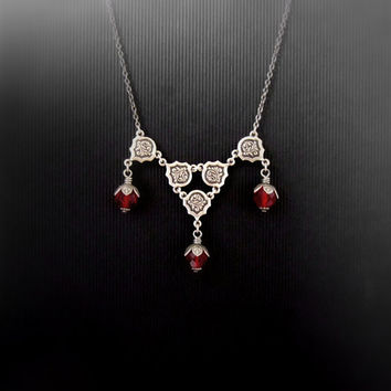 Art Deco Necklace - Siam Red Berries - Silver Plated Victorian Jewelry - Gothic