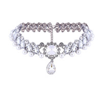 Casual Retro Rhinestone Pearl Blend Choker Necklace