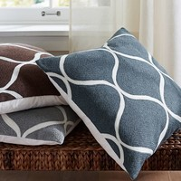 OGEE CREWEL EMBROIDERED PILLOW COVER