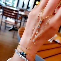 Clear Zircon Six Baguette Bar Minimal Style Hand Chain Adjustable| 925 Sterling Silver