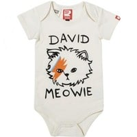David Meowie Short Sleeve Bodysuit Oatmeal | Baby Bodysuits and Jumpsuits | Rock Your Baby