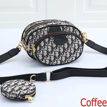 Dior embroidered letters men's and women's Three piece messenger bag waist bag shoulder bag Coffee