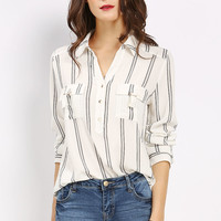 Two Pocket Roll-Up Blouse