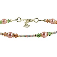 Spring Pink Pearl Beaded Anklet