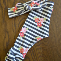 Organic Cotton Black and White Stripe with Flowers Legging and Top Knot Headband Set for Girls -Baby Girl Set -Organic Leggings and Headband