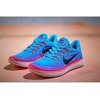 NIKE FREE RN tide brand men and women fashion running shoes sports shoes sports shoes F-PSXY Blue + rose red