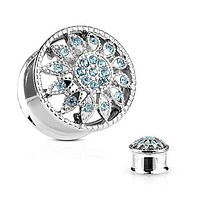 Crystal Paved Flower Front 316L Surgical Steel Double Flared WildKlass Tunnel Plugs