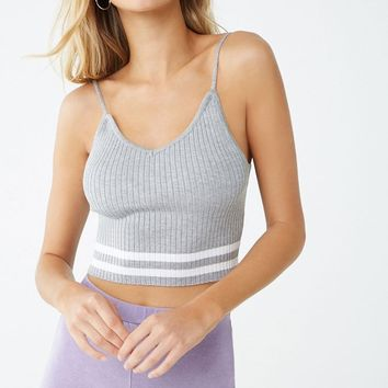 Ribbed Striped-Trim Cropped Cami