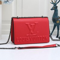 LV Louis Vuitton Solid Color Letter Embossed Flap Crossbody Bag Shoulder Bag Shopping Bag