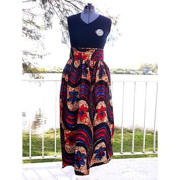 African Maxi Skirt - Blue/Red/Black Wave Floral Print
