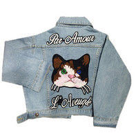 Short Cat Embroidery Denim Jackets for Womens Fashion Jean Coats with Letter Autumn Winter Chaquetas Mujer Soft Lady Jean Jacket