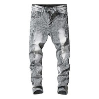 Men's Gray Ultra Ripped Skinny Jeans Stretchy
