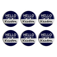 Keaton Hello My Name Is Plastic Resin Button Set of 6