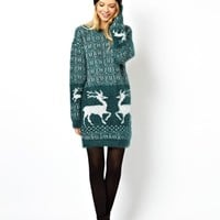 ASOS Christmas Sweater Dress With Reindeers - Green $30.96