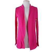 Casual Solid Long Sleeve Open Front Draped Cardigan Lightweight Sweater