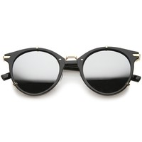 Retro Mod P-3 Horn Rimmed Reinforced Metal Mirror Lens Round Sunglasses