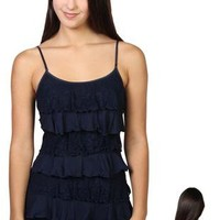 ruffle front top with spaghetti straps and lace back - debshops.com