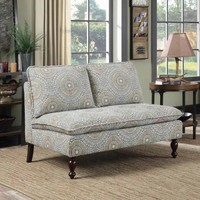 Bertha collection blue and yellow paisley pattern print upholstered settee love seat with wood legs