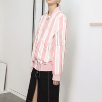 Oversized Striped Pink Bomber Jacket