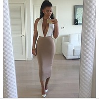 Deep V Backless High Waist Fashion Dress