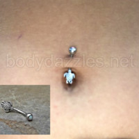 Tiny Turtle Fire Opal White Belly Button Navel Ring Body Jewelry Fits in Navel 14ga Cute Belly Ring