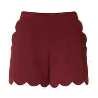 Burgundy Shorts with Scallop Hem