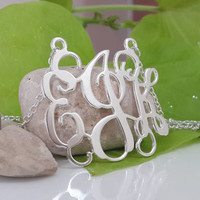 3 Initials Monogram Necklace 1.2 Inch - Sterling Silver - Fast Shipping