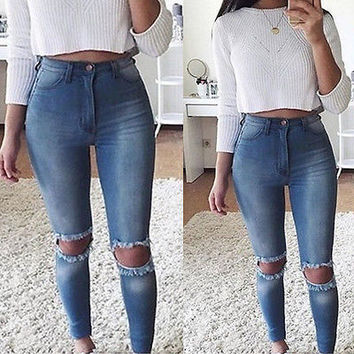 New  Fashion Women  High Waist  Pencil Pants  Ripped Slim Fit Skinny Denim Slim Trousers  Hole Jeans  Blue L