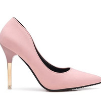 Collections - Soft Pink Leather Gold Heeled Pump