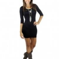 Solid Black Fitted Top/Dress