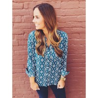 Elisa Teal Blouse