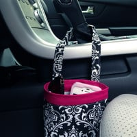 Car Cellphone Caddy ~ Black Damask ~ Hot Pink Band ~ Center Console Handle