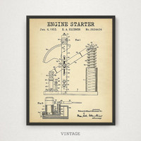Engine Starter Patent Printable, Motorcycle Enthusiast Gift, Man Cave Decor, Motorcycle Parts, Motorbike Blueprint Vintage Motorcycle Prints