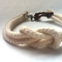 Nautical Anchor Bracelet - Natural Ivory Cord