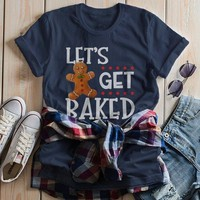 Women's Funny Christmas Shirt Let's Get Baked T Shirt Christmas Cookie Shirts Funny Holiday Graphic Tee