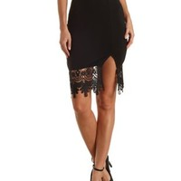 Embroidered Lace-Trim Pencil Skirt by Charlotte Russe