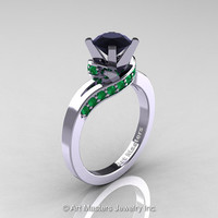 Classic 14K White Gold 1.0 Ct Black Diamond Emerald Designer Solitaire Ring R259-14KWGEMBD