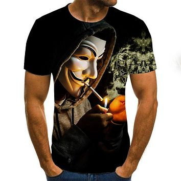 Clown 3d Printed T Shirt Men Joker Face Male Tshirt 3d Clown Short Sleeve Funny T Shirts Tops & Tees