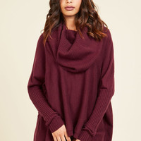 A Cozy Touch Sweater in Burgundy | Mod Retro Vintage Sweaters | ModCloth.com