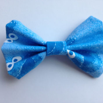Girl's Blue Cookie Monster Fabric Hair Bow