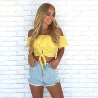 Electric Feel Off Shoulder Blouse In Yellow