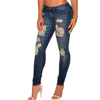 Cotton Dark Sandblast Wash Ripped Jeans For Low Waist Skinny Jeans With Holes Ripped Pencil Denim Pants Wo SM6